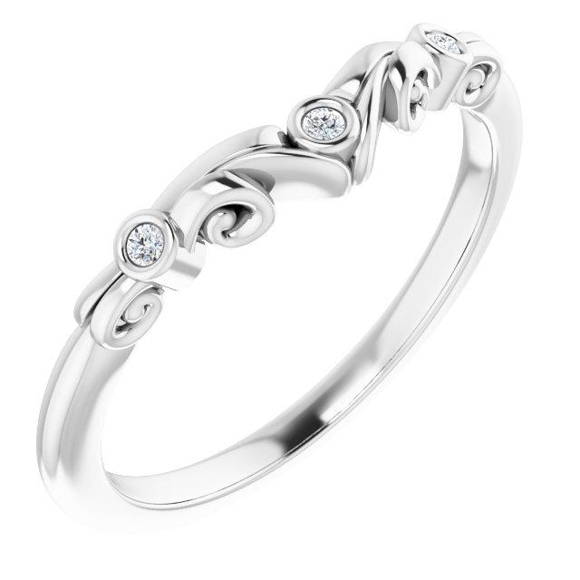 14K White .03 CTW Diamond Matching Band