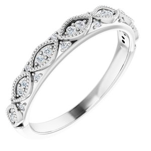 14K White 1/8 CTW Diamond Anniversary Band Size 7