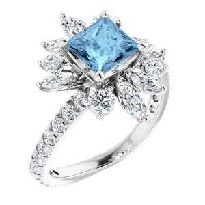 14K White Aquamarine & 1 1/6 CTW Diamond Ring