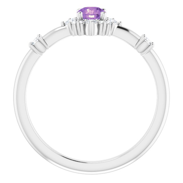14K White Amethyst & 1/6 CTW Diamond Ring