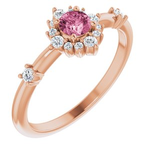 14K Rose Pink Tourmaline & 1/6 CTW Diamond Ring