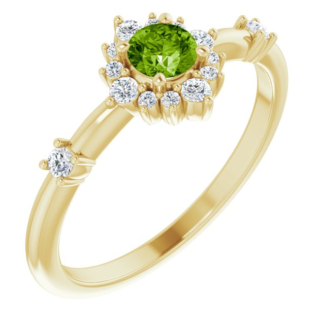 14K Yellow Peridot & 1/6 CTW Diamond Ring