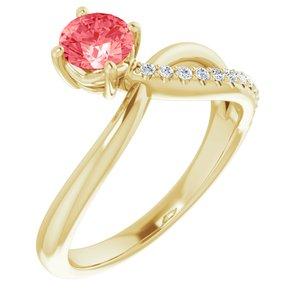 14K Yellow 5/8 CTW Pink & White Lab-Grown Diamond Ring