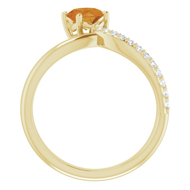 14K Yellow Citrine & 1/10 CTW Diamond Ring