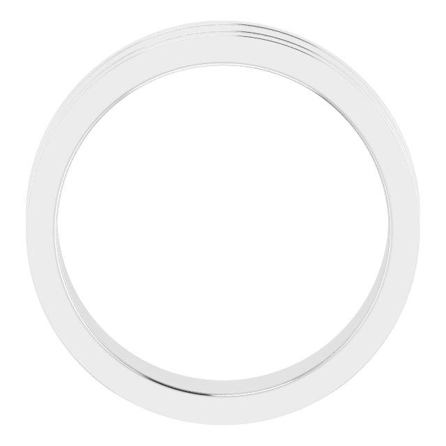 Platinum 6 mm Flat Edge Band with Milgrain  Size 9