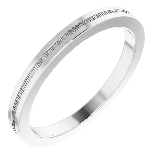 14K White 2 mm Flat Edge Band with Milgrain  Size 7