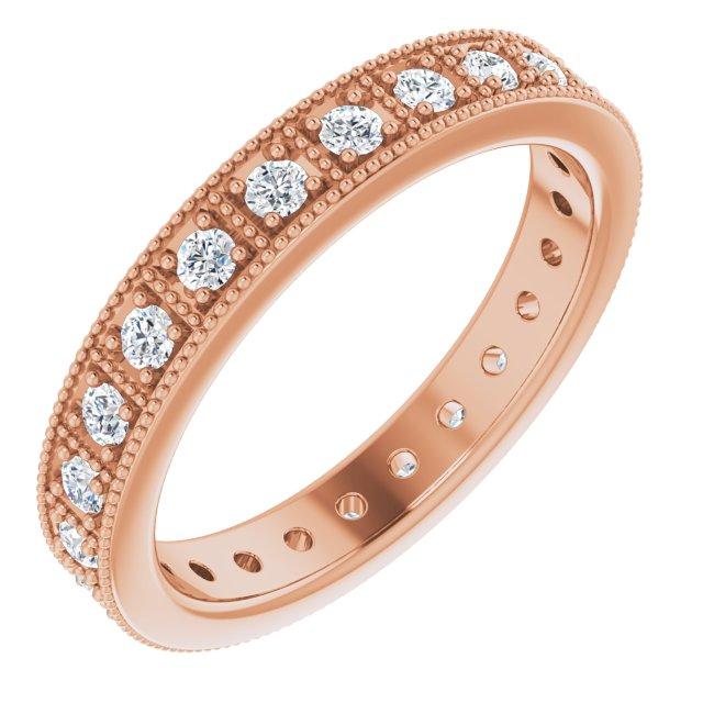 14K Rose 1/2 CTW Diamond Eternity Band Size 7
