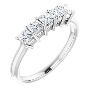14K White 2.75x2.75 mm Square 5/8 CTW Diamond Anniversary Band