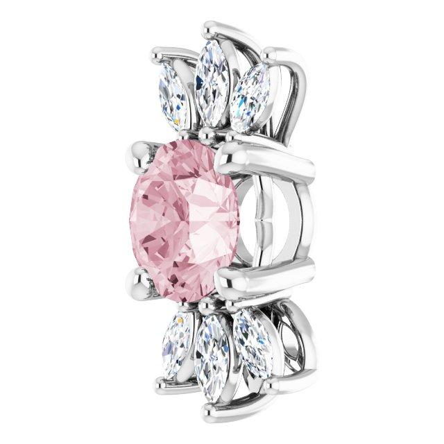 14K White Pink Morganite & 1/5 CTW Diamond Pendant