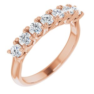 14K Rose 3 mm Round Seven-Stone Anniversary Band Mounting