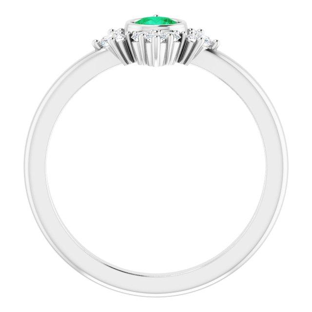 14K White Emerald & 1/5 CTW Diamond Ring