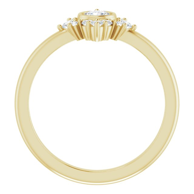 14K Yellow Natural White Sapphire & 1/5 CTW Natural Diamond Ring