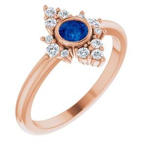 14K Rose Chatham® Created Blue Sapphire & 1/5 CTW Diamond Ring