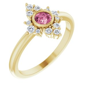 14K Yellow Pink Tourmaline & 1/5 CTW Diamond Ring