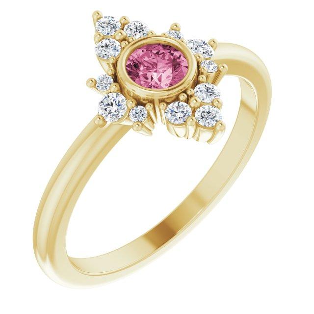 14K Yellow Natural Pink Tourmaline & 1/5 CTW Natural Diamond Ring