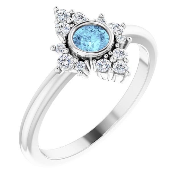 14K White Natural Aquamarine & 1/5 CTW Natural Diamond Ring