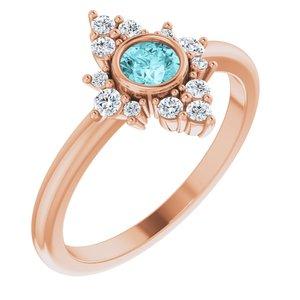 14K Rose Blue Zircon & 1/5 CTW Diamond Ring