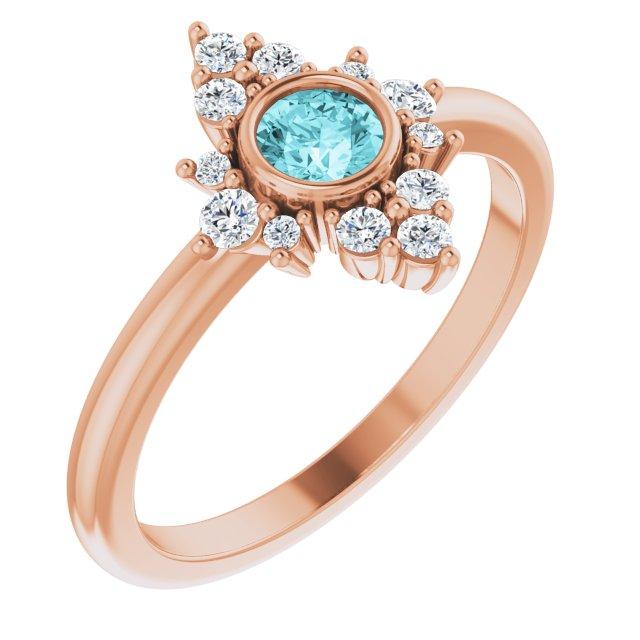 14K Rose Natural Blue Zircon & 1/5 CTW Natural Diamond Ring