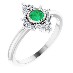 14K White Emerald & 1/5 CTW Diamond Ring