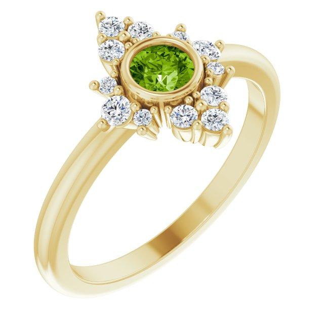 14K Yellow Peridot & 1/5 CTW Diamond Ring