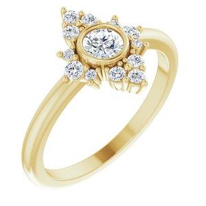 14K Yellow Sapphire & 1/5 CTW Diamond Ring