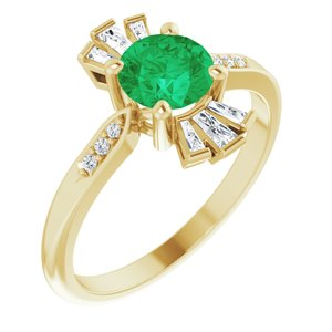 14K Yellow Chatham® Created Emerald & 1/6 CTW Diamond Ring