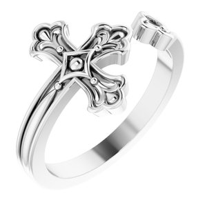14K White Negative-Space Cross Ring