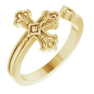 14K Yellow Negative-Space Cross Ring