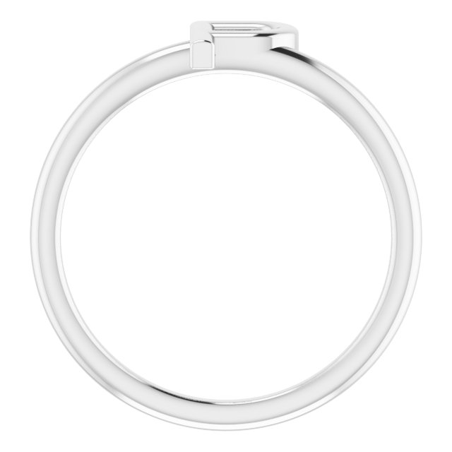 14K White Initial P Ring