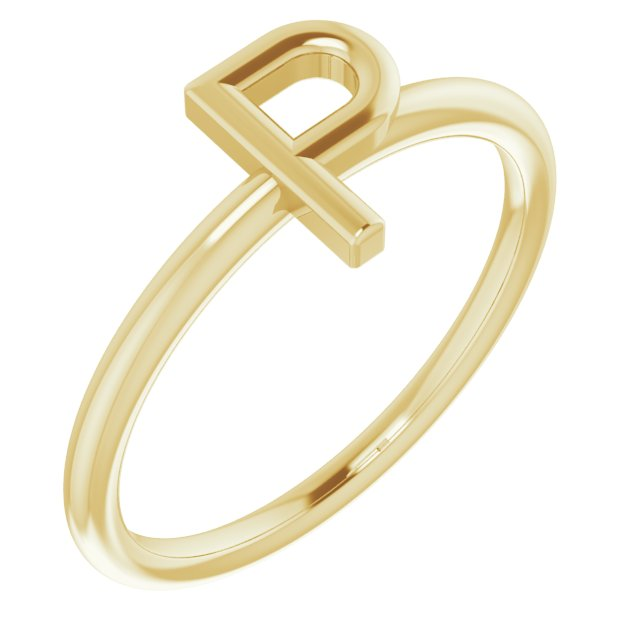 14K Yellow Initial P Ring