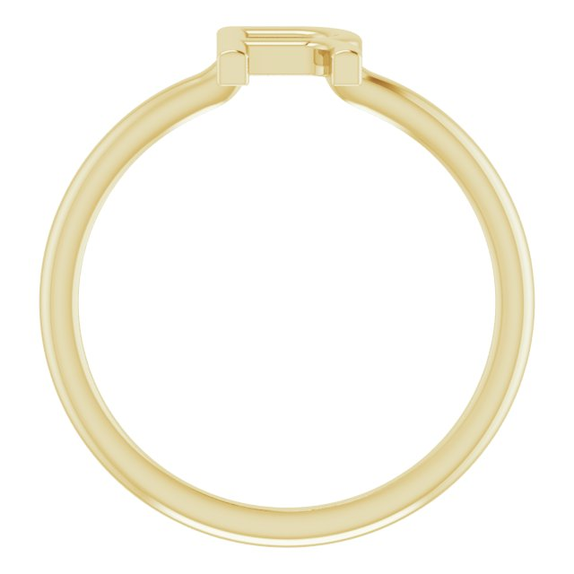 14K Yellow Initial R Ring