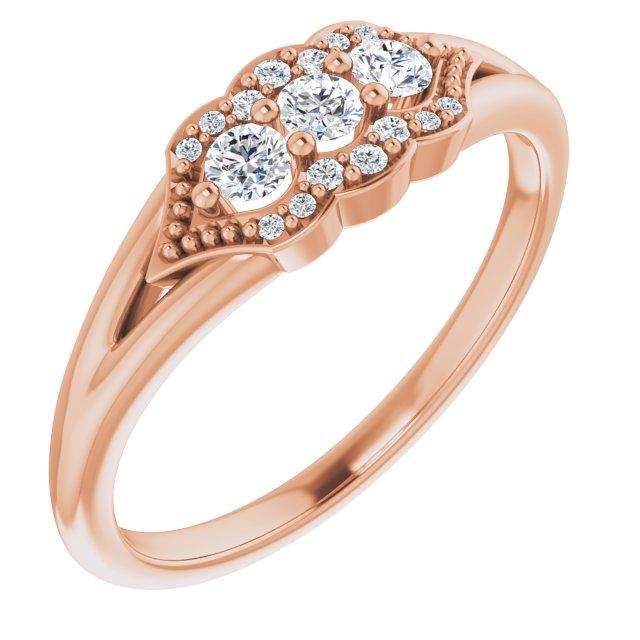 14K Rose 1/5 CTW Diamond Stackable Ring