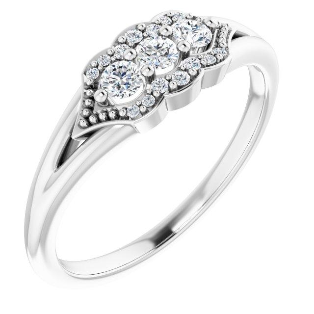 14K White 1/5 CTW Diamond Stackable Ring