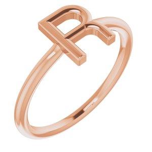 14K Rose Initial R Ring