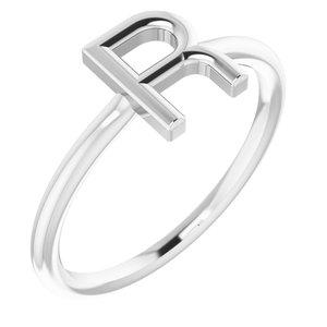 14K White Initial R Ring