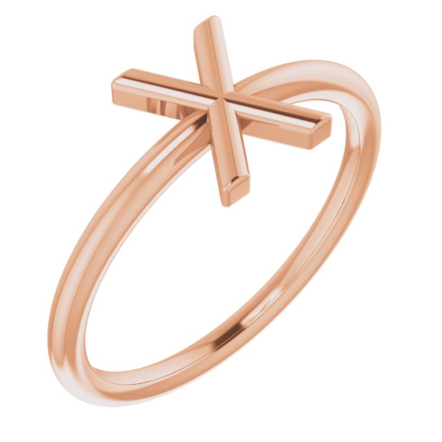 14K Rose Initial X Ring