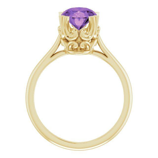 14K Yellow Amethyst Ring