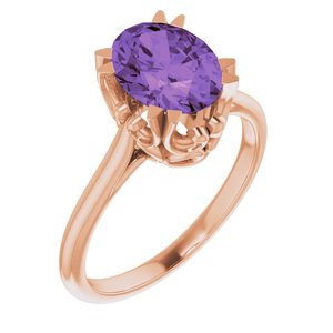 14K Rose Amethyst Ring