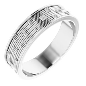 14K White 6 mm Patterned Band Size 10