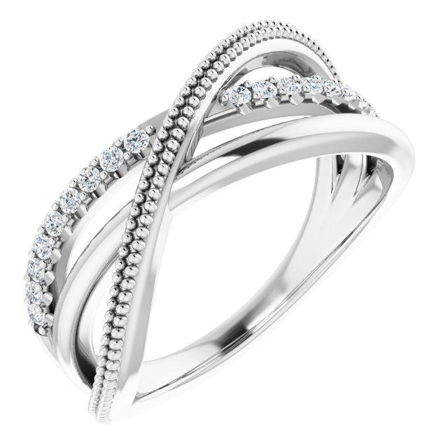14K White 1/5 CTW Lab-Grown Diamond Criss-Cross Ring