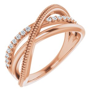 14K Rose 1/5 CTW Diamond Criss-Cross Ring