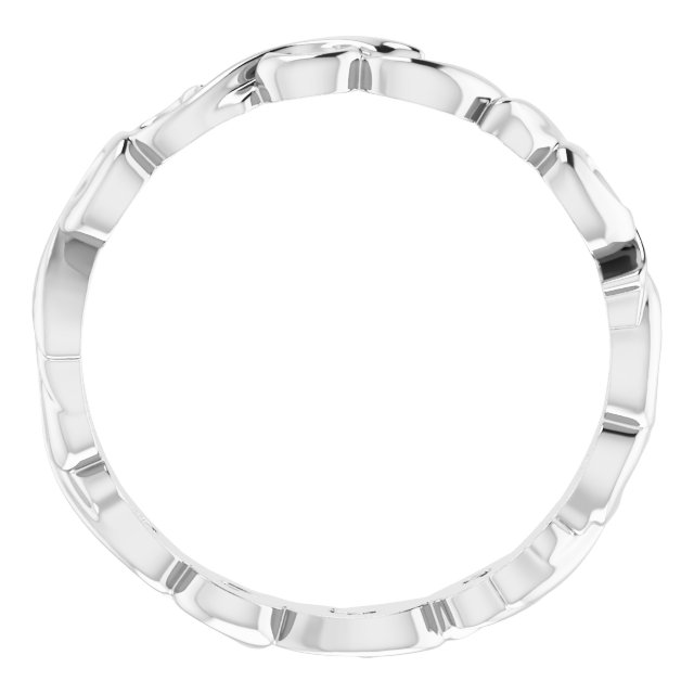 14K White 3 mm Sculptural-Inspired Scroll Design Band Size 5.5
