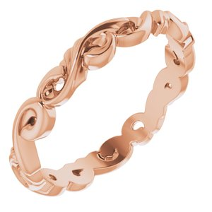 14K Rose 3 mm Sculptural-Inspired Scroll Design Band Size 6