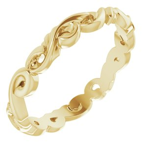 14K Yellow 3 mm Sculptural-Inspired Scroll Design Band Size 7