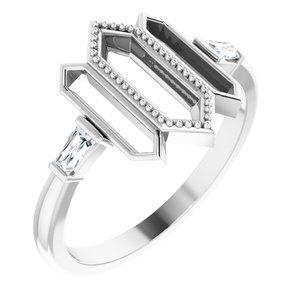 14K White 1/8 CTW Diamond Geometric Ring