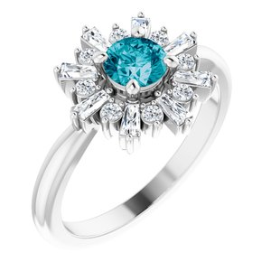 14K White London Blue Topaz & 3/8 CTW Ring