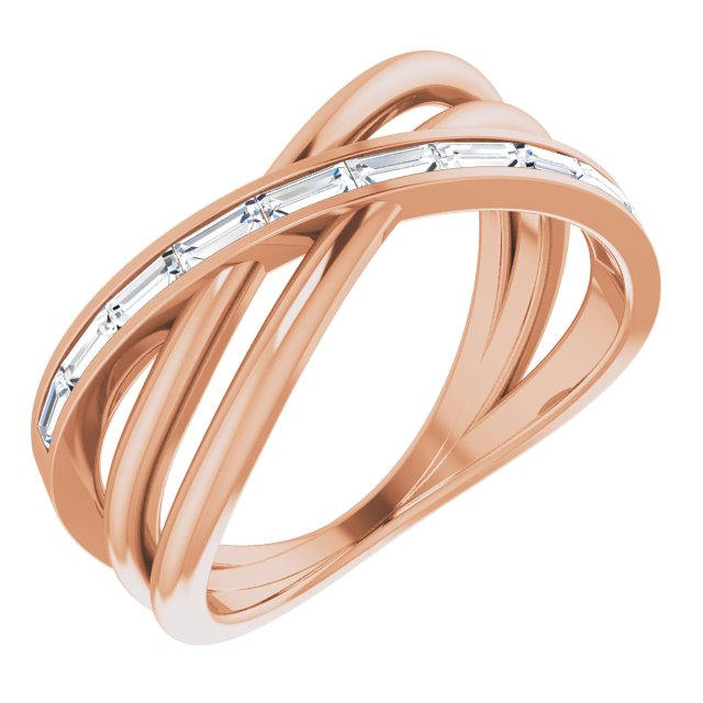 14K Rose 1/3 CTW Diamond Criss-Cross Ring
