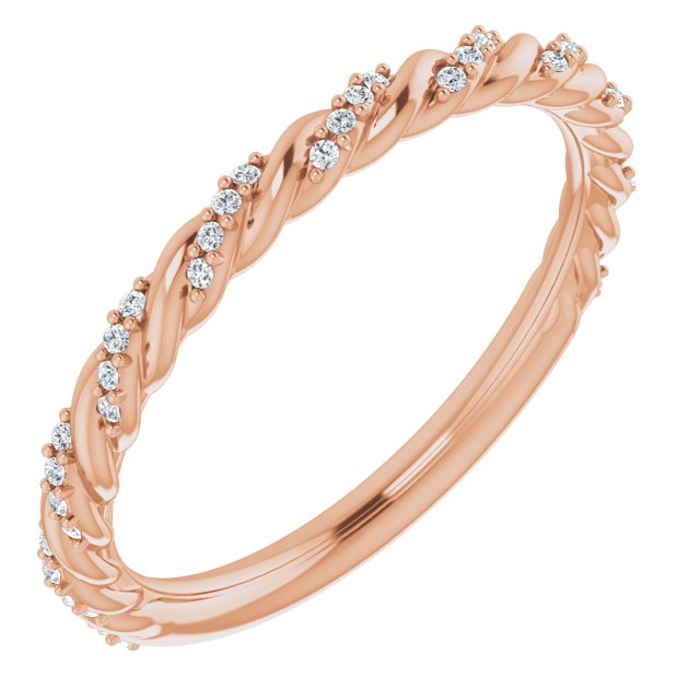 14K Rose 1/8 CTW Diamond Pavé Twisted Anniversary Band