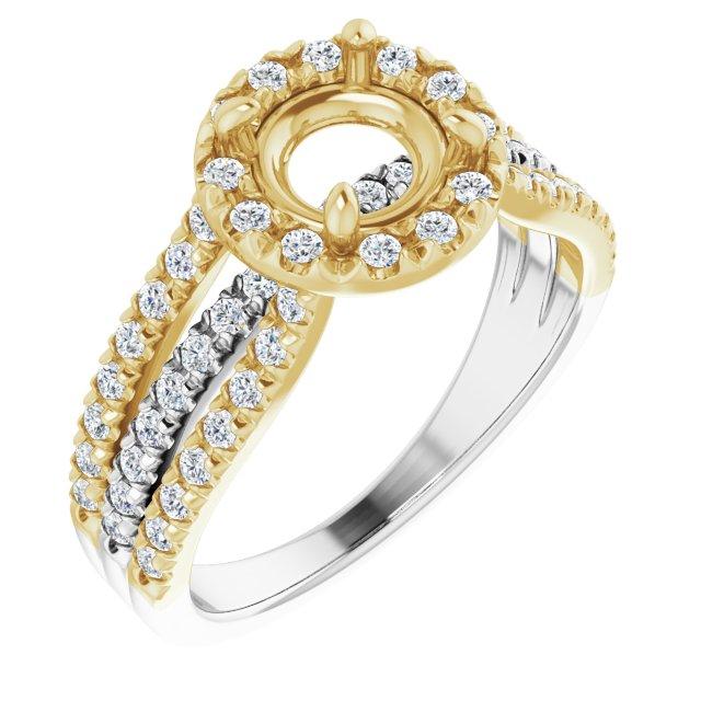 14K White/Yellow 6.5 mm Round 1/2 CTW Diamond Semi-Set Engagement Ring