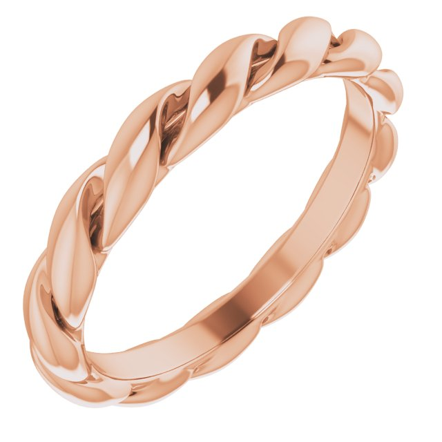 14K Rose 3 mm Twisted Band Size 5.5